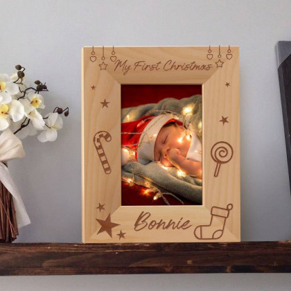 "My First Christmas Personalized Wooden Picture Frame 3 1/2"" x 5"" Finished (Frames)"