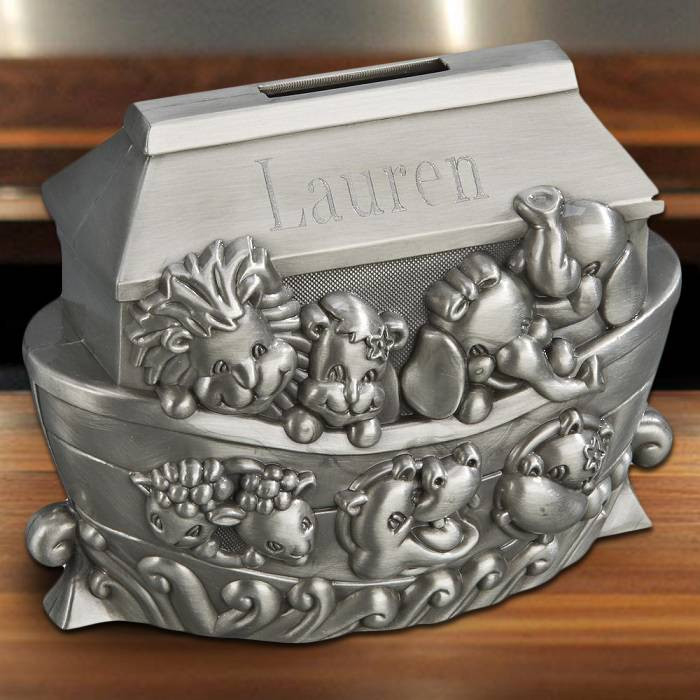 Personalized Decorative Pewter Football Piggy Bank with Easy Engraving