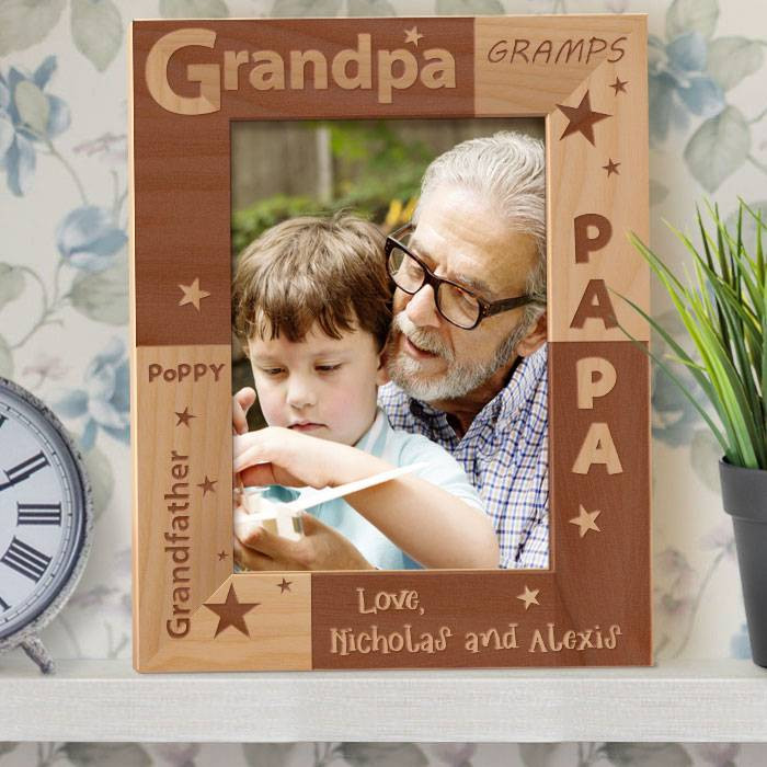 buy grandpa s love personalized wooden picture frame center gifts
