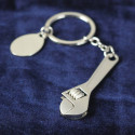 Personalized Wrench Key chain with Oval Engraving Brushed Finish Plate