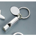 Personalized Chrome Plated Whistle Key Chain with Easy Engraving