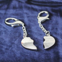 Personalized Split Heart Keychain Pair with Printed Custom Name