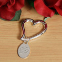 Personalized Caribener Silver Heart Keychain With Engraving Tag