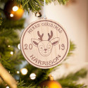 Personalized Round Wooden Deer Inspired Merry Christmas Ornament