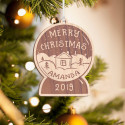 Personalized Wooden Clock-Shaped Merry Christmas Ornament