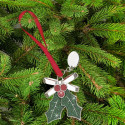 Glitter Galore Holly & Berries Ornament Custom  Engraved Message