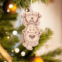 Personalized Wooden Reindeer Antler Merry Christmas Ornament