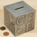 Personalized Decorative Easy Engraving  Pewter Baby Block Money Bank