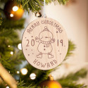 Personalized Wooden Round Penguin Merry Christmas Ornament
