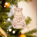 Personalized Wooden Baby Panda Merry Christmas Ornament