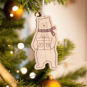 Personalized Wooden Scarved Panda Merry Christmas Ornament