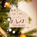 Personalized Wooden Fox Merry Christmas Ornament