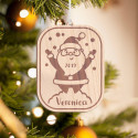 Personalized Wooden Baby Round Penguin Merry Christmas Ornament