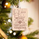 Personalized Rectangular Wooden Baby Deer Merry Christmas Ornament