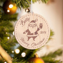 Personalized Round Wooden Santa with Gift Box Merry Christmas Ornament