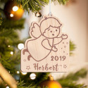 Personalized Wooden Baby Angel Merry Christmas Ornament
