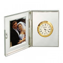 Personalized Polished Silver Office Desk Clock With Frame Engravable