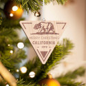 Personalized Inverted Triangle California Wooden Merry Christmas Ornament