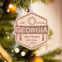 Personalized Hexagonal Wooden Georgia Merry Christmas Ornament