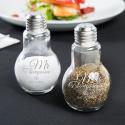 Personalized Wedding 4oz Glass Lightbulb Salt and Pepper Shaker Set