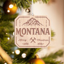 Personalized Octagonal Wooden Montana Merry Christmas Ornament