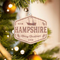 Personalized Hexagonal Wooden New Hampshire Merry Christmas Ornament