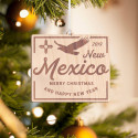 Personalized Square Wooden New Mexico Merry Christmas Ornament