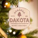 Personalized Hexagonal Wooden North Dakota Merry Christmas Ornament
