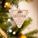 Personalized Inverted Triangle Wooden Oregon Merry Christmas Ornament