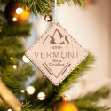 Personalized Diamond-shaped Wooden Vermont Merry Christmas Ornament