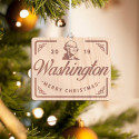 Personalized Rectangular Wooden Washington Merry Christmas Ornament