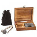 Personalized Wood Box with Tongs, 9 Whiskey Stones and Pouch