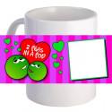 "Personalized ""2 Peas in a Pod""  11 oz Coffee Mug With Custom Photo"