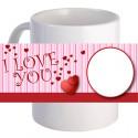 "Personalized ""Pink Stripe Love"" Coffee Mug With Custom Printed Image"