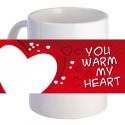 "Personalized ""You Warm My Heart"" 11 oz Beautiful Decorative Coffee Mug"