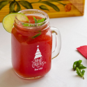 Personalized Christmas Mason Jar, Drinking Jar with Handle 16 oz