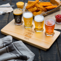 Personalized Christmas 4 Core Beer Flight Pub Taster Glasses with 4 Holed Rustic Wood Sampler Tray