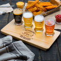Personalized 4 Core Beer Flight Pub Taster Glasses with 4 Holed Rustic Wood Sampler Tray