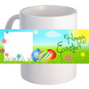 "Personalized ""Happy Easter!"" Coffee Mug With Custom Printed Image Text"