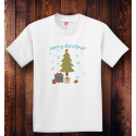 Personalized Youth Tagless Merry Christmas, 100% Cotton T-Shirt, Hanes
