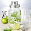 Personalized Glass Mason Jar Bar Shaker with Metal Top