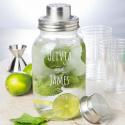 Personalized Wedding Glass Mason Jar Bar Shaker with Metal Top