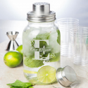 Personalized Initial and Name Glass Mason Jar Bar Shaker with Metal Top