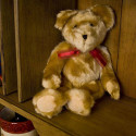 Plush Sebastian Teddy Bear Silky Light Brown with Red Ribbon Plush Toy