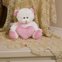 Plush Cutie Pie Bear With Pink Heart Pillow Beautiful Gift For Someone