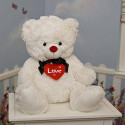 Burton & Burton Plush Red Hearts A Lot White Adorable Cute Teddy Bear