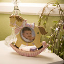 Frame Baby Girl Rocking Horse Shape