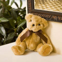 """Plush 8"""" Beige Bear With Jointed Legs Soft Plush Brown Satin Ribbon"""