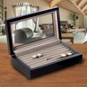 Personalized Matte Black Wood Cufflink Box