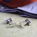 Silver and Purple Barbell Cuff Links Perfect Color For Any Outfit